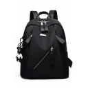 Cool Solid Color Zipper Front Water Resistant Oxford Cloth Backpack 23*13*32 CM