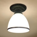 Antique Style White Ceiling Light Dome Shade 1 Light Frosted Glass Flush Ceiling Lamp for Shop