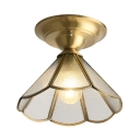 1 Light Conical Flush Mount Light Antique Style Glass Ceiling Fixture for Bedroom