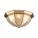 Glass Bowl Ceiling Lamp Hotel Foyer 3/4 Lights Elegant Style Flush Light in Brass