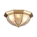 Glass Bowl Ceiling Lamp Hotel Foyer 3/4 Lights Elegant Style Flush Light in Brass