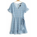 Summer Light Blue Floral Printed V-Neck Short Sleeve Holiday Mini Dress