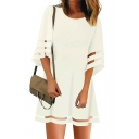 Womens Fancy Mesh Panel Solid Color Round Neck Mini Swing Dress
