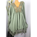 Womens New Stylish Solid Color V-Neck Long Sleeve Lace Panel Mini Dress