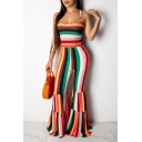 Hot Fashion Orange Striped Printed Spaghetti Straps Trumpet Pants Jumpsuits For Women