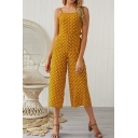 Women's Summer New Polka Dot Printed Bow Back Sleeveless Wide Legs Jumpsuits