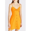 Womens Summer Trendy Yellow Solid Color Knotted Front Button Down Mini Cami Dress