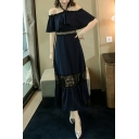 Womens Summer Fancy Lace Patched Halter Neck Cold Shoulder Maxi Black Dress