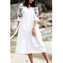 Women's Holiday Floral Printed V-Neck Three-Quarter Sleeve Bow-Tied Waist Midi A-Line Dress