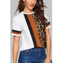 Womens New Fashion Leopard Printed Basic Short Sleeve Casual Tee