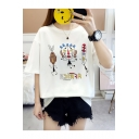 New Trendy Funny Cartoon Printed Round Neck Short Sleeve Tee For Girls