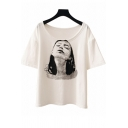 Women's Casual Character Print Round Neck Half Sleeves Loose Summer Tee