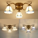 3 Lights Cone Semi Flush Mount Light Rustic Style Glass Ceiling Fixture for Dining Room