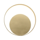 Round Sconce Light Postmodern Metal Wall Light in White/Warm White for Living Room