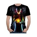 Summer Hot Popular Cool 3D Figure Printed Basic Round Neck Short Sleeve Black T-Shirt For Men