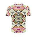 Fancy Unique 3D Geometric Printed Round Neck Short Sleeve Basic T-Shirt