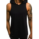 Mens Basic Simple Solid Color Sleeveless Hooded Sport Casual Tank Top