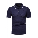 Mens Fashion Rib Collar Tipped Short Sleeve Unique Patchwork Three-Button Front Slim Polo Shirt