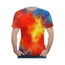Men's Hot Fashion Funny Tie-Dye Printed Color Block Round Neck Short Sleeve Summer Red T-Shirt