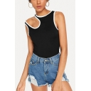 Girls Summer Unique Contrast Trim Cutout Sleeveless Slim Fit Black Tank Top