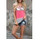 Summer Hot Fashion Round Neck Sleeveless Floral Striped Printed Lace Panel Back Loose Casual Tank Top