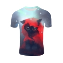 Hot Sale Cute 3D Cat Printed Basic Round Neck Short Sleeve White T-Shirt For Men