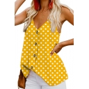 Womens Summer Hot Fashion Polka Dot Printed V-Neck Button Front Casual Cami Top