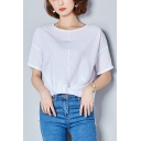 Womens Summer Simple Plain Round Neck Short Sleeve Knotted High Low Hem Chiffon Top