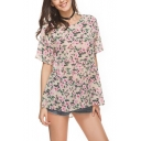Summer Chic Floral Printed Round Neck Short Sleeve Loose Fit T-Shirt