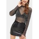 New Fashion Star Embellished Long Sleeve Womens Black Slim Fit Mesh T-Shirt