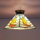 Trapezoid Flush Mount Light 1 Light Tiffany Style Stained Glass Ceiling Light for Foyer