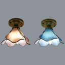 Lotus Hallway Flush Mount Light Blue/Pink Glass 1 Light Rustic Style Ceiling Lamp