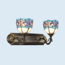 Stained Glass Bell Wall Light Dining Room Foyer 2 Lights Tiffany Style Rustic Sconce Lamp