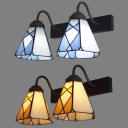 Living Room Cone Wall Light with Pull Chain Glass 2 Lights European Style Sconce Light in Beige/Blue