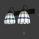 Antique Style Dome Wall Light Glass 2 Lights White Sconce Light with Pull Chain for Bedroom