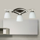 Frosted Glass Dome Wall Light 3 Lights Traditional Sconce Light in Brush Nickel for Dining Room