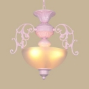 Frosted Glass Domed Pendant Light Bedroom 3 Lights Traditional Chandelier in Blue/Pink