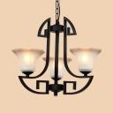 Restaurant Cafe Bell Chandelier Metal & Glass 3/6 Lights Antique Style Black Pendant Light