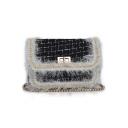 Chic Plaid Pattern Fur Chain Embellishment Hairy Square Crossbody Bag 19*9*13 CM