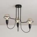 Traditional Globe Hanging Light 3 Lights Clear Glass Chandelier in Black for Bedroom Cafe