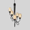 Classic Bud Shade Chandelier Clear Glass Metal 5/7 Lights Black Pendant Light for Bedroom