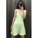 Girls Summer New Chic Fluorescent Green Simple Plain Mini A-Line Cami Dress