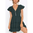 Womens Summer Sweet Solid Color Green Ruffled Hem V-Neck Button Front Mini A-Line Dress