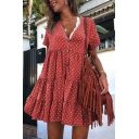 Womens New Fashion Polka Dot Printed Short Sleeve V-Neck Button Front Mini Swing Dress