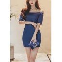 Womens Summer Fashion Blue Solid Color Off the Shoulder Short Sleeve Mini Pencil Dress