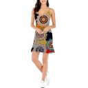Women's Hot Fashion Tribal Printed V-Neck Sleeveless Cut Out Side Sheath Mini Cami Dress
