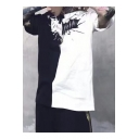 Men's New Stylish Bat Print Black and White Patchwork Round Neck Short Sleeve loose Fit Tee