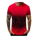 Men's New Stylish Print Ombre Color Round Neck Short Sleeve Fitted T-Shirt