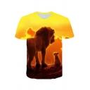 Summer New Fashion Lion 3D Printed Round Neck Short Sleeve T-Shirt