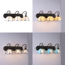 3 Lights Dome Wall Light Tiffany Style Antique Glass Wall Sconce for Bedroom Living Room